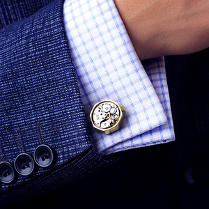 Image 4 - KFLK jewelry shirt cufflink for mens Brand cuff button Gold color watch movement cuff link High Quality abotoadura guests