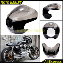 "5 3/4"" Cafe Racer Headlight Fairing Windscreen For Harley Sportster 883 1200 XL Dyna 39mm Forks New"