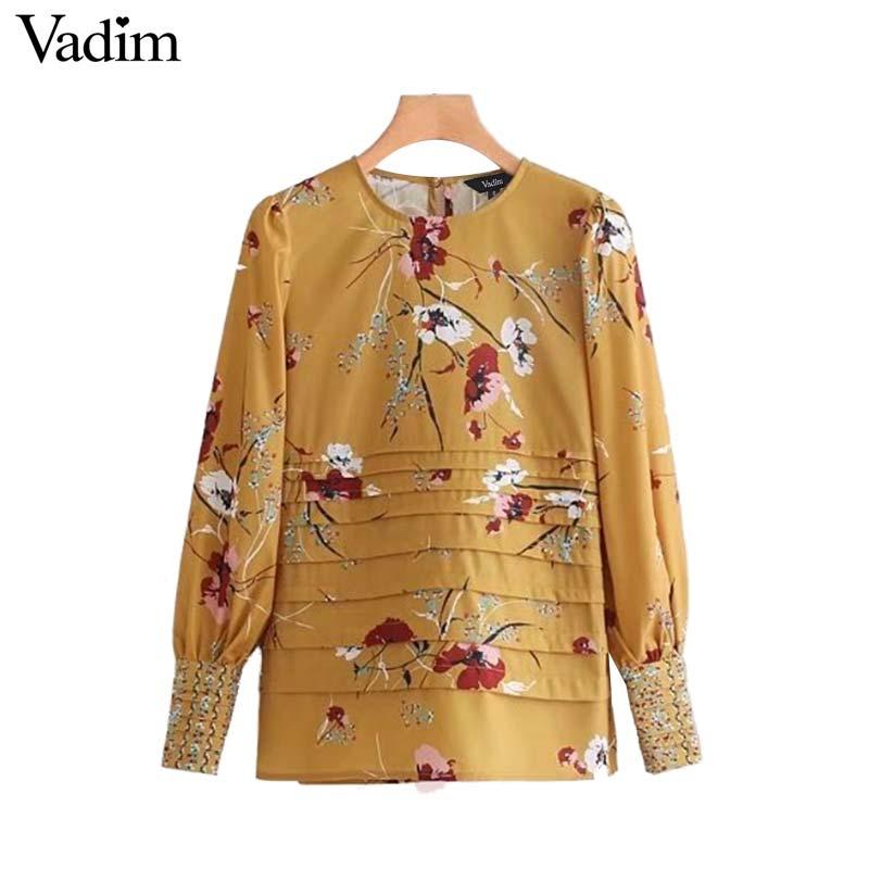 Vadim Women Elegant Floral Print Pleated Shirt Long Sleeve O Neck
