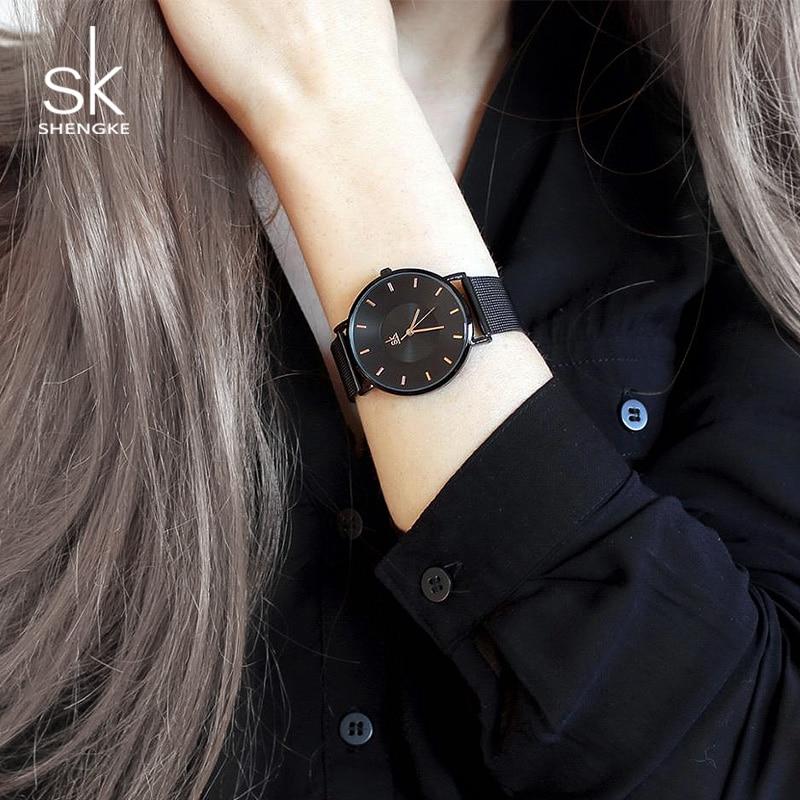 Shengke Black Fashion Watches Women Top Brand Luxury Quartz Ladies Wrist Watch Reloj Mujer 2019 SK Best Gift Watches For Women