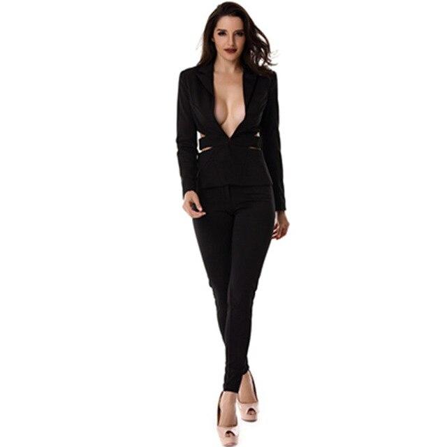 As Oficina Chaquetas Piezas De Hueco Picture 2 Mujer Ropa Trabajo Sexy Traje Conjuntos Moda Trajes Y Negocios Negro Pantalones Primavera Elegante CCFHnqt