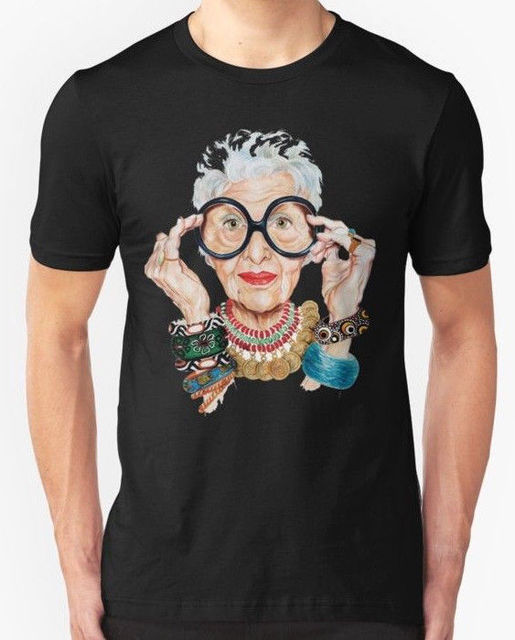4feba374e New Iris Apfel - Fashion is ultimately a form of self Men's T-shirt T Shirts  Casual Brand Clothing Cotton