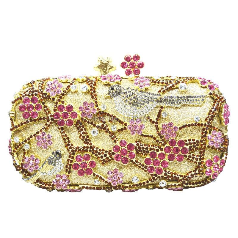 Laisc wintersweet bolsos de embrague estilo chino plum blossom tree birds crysta