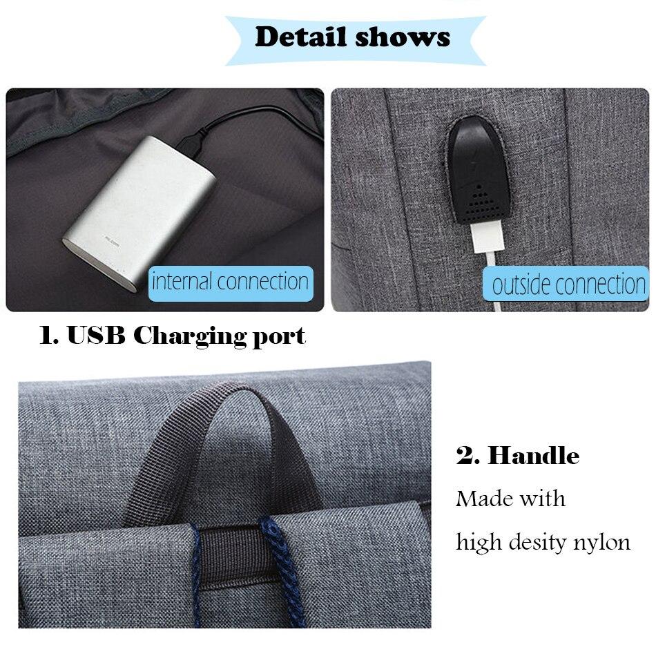 2018 Vintage Men Women Canvas Backpacks School Bags for Teenager Boys Girls Laptop Backpack with USB Charging Fashion Travel Bag (12)