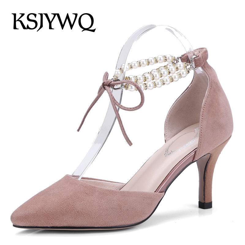 KSJYWQ Women Pears Lace-up Sandals Genuine Leather Summer Dress Shoes 7 CM High Heels Sexy Pointed-toe Pumps Box Packing 933 ksjywq genuine leather flowers women sandals sexy exposed toe white shoes summer style clip toe shoes woman box packing a2571