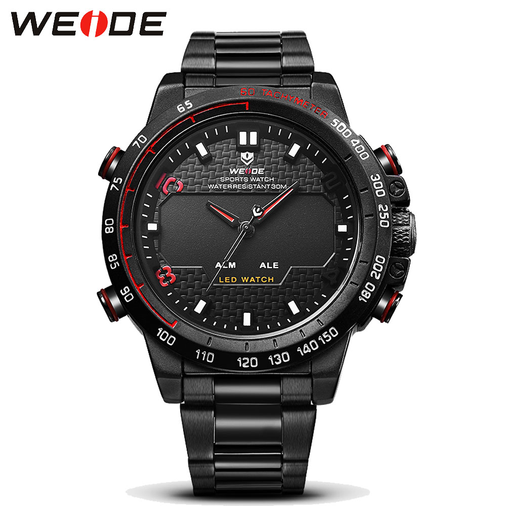 Mens Watches WEIDE Luxury Brand Steel Quartz Clock Men Digital LED Watch Army Military Sport Watch Male relogio masculino 2017 weide luxury brand men watch led backlight clock stainless steel quartz watch sport watches male relogio masculino de luxo