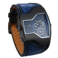 Lancardo Men Watches Top Brand Luxury Quartz Watch Unique 2 Small Dials Blue Leather Strap Male