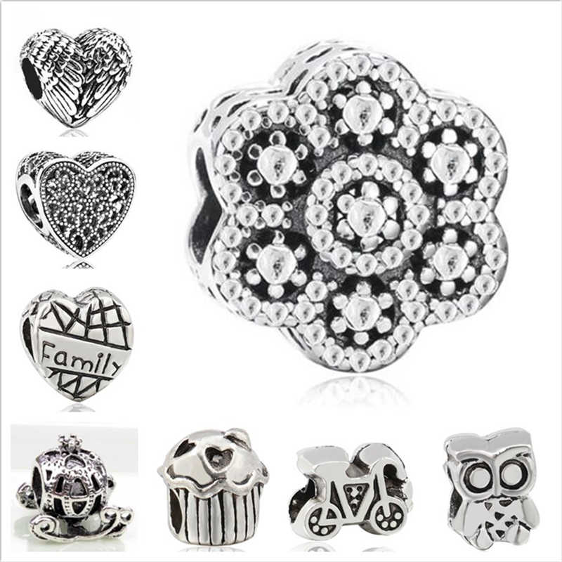 Btuamb Hot Selling Cake Love Heart Flower Music Animal Charm Alloy Beads Fit Pandora Bracelets for Women DIY Jewelry Lover Gift