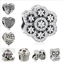 Btuamb Hot Selling Cake Love Heart Flower Music Animal Charm Alloy Beads Fit Pandora Bracelets for Women DIY Jewelry Lover Gift(China)