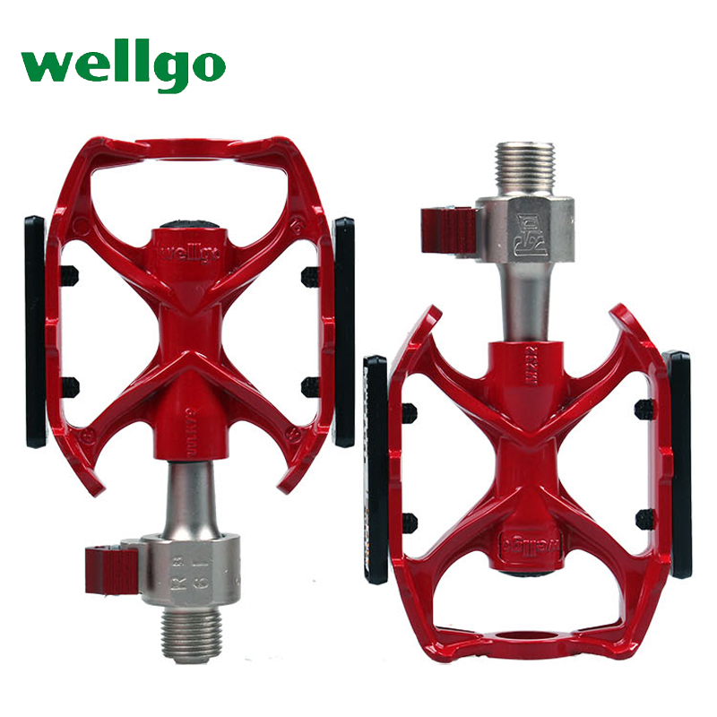 wellgo QRD bicycle pedal bearings mountain bike pedals MTB ultralight 340g cycling road bike pedales Al-alloy quick release red