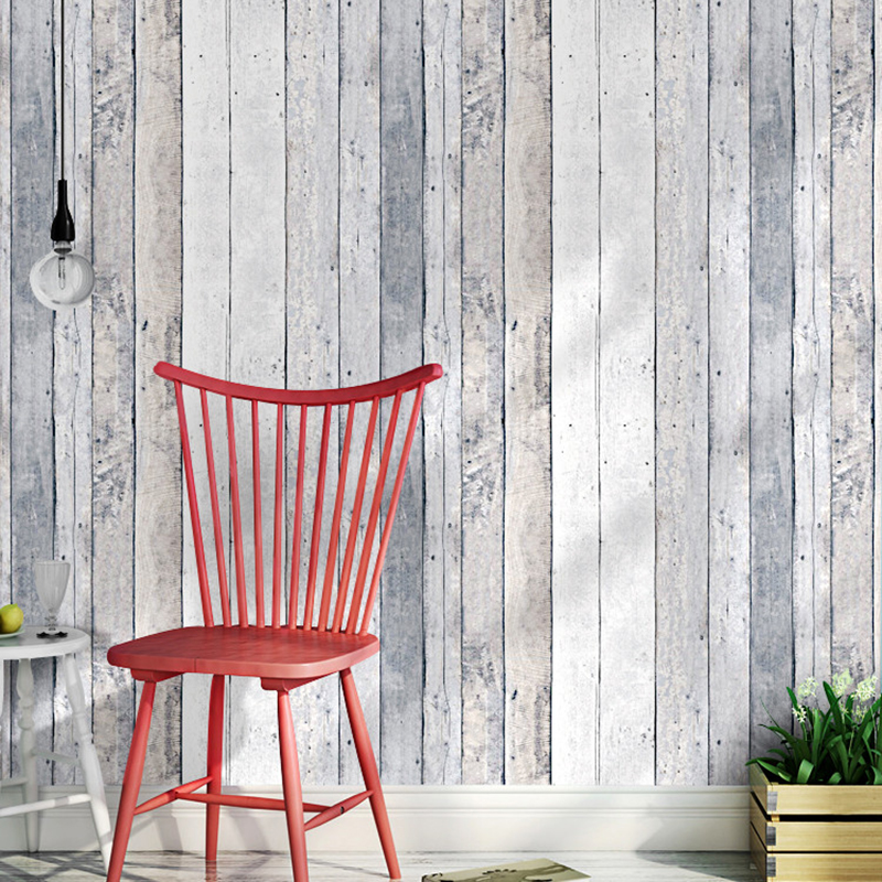 Vintage Imitation Wood Wallpaper Modern Simple Vertical Striped Wall Paper Living Room Bedroom Restaurant Cafe PVC Backdrop Wall