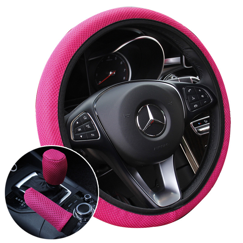 Set of 3pcs Set ice Silk Steering Wheel Cover +Shift Gear Cover + Handbrake Cover Universal for 38CM Wear resistant Anti slip-in Steering Covers from Automobiles & Motorcycles