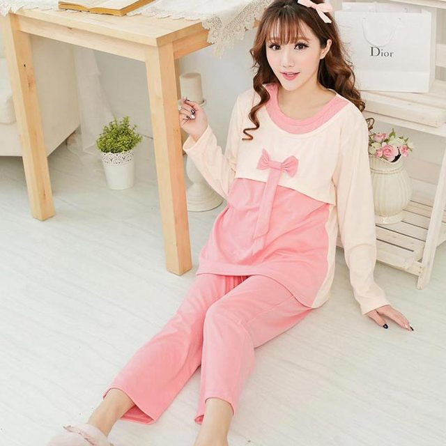 New Spring Autumn Maternity Long-sleeve Women Nursing Nightgown Sleepwear For Pregnant Clothing Pajama sets