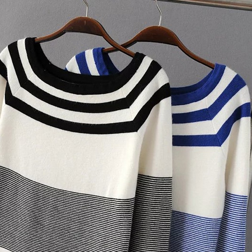 Korea Star Style 2016 New Winnter navy slim stripe slit neckline thin pullover sweater top female ...