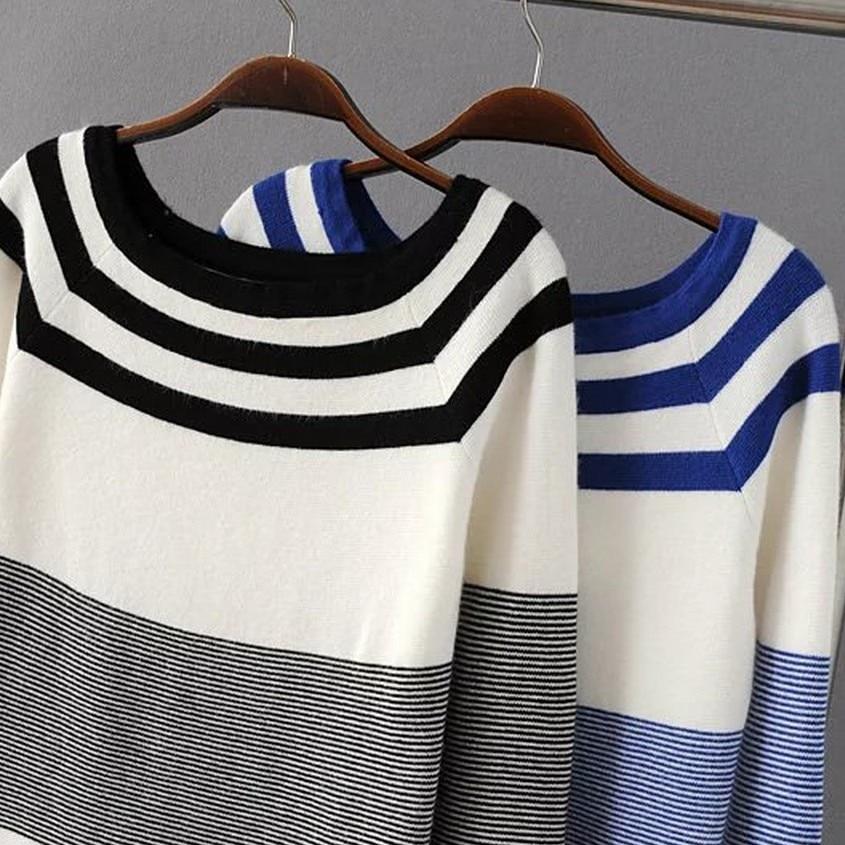 Korea Star Style 2016 New Winnter navy slim stripe slit neckline thin pullover sweater top female