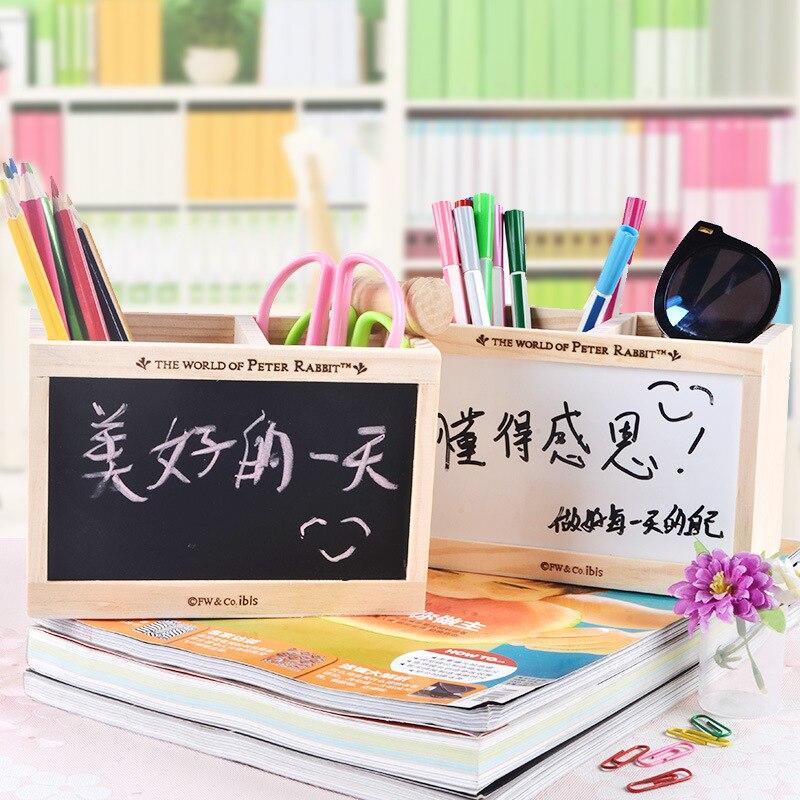 Creative pen holder Wooden double deck with blackboard message board storagebox Stationery office organizer School supply