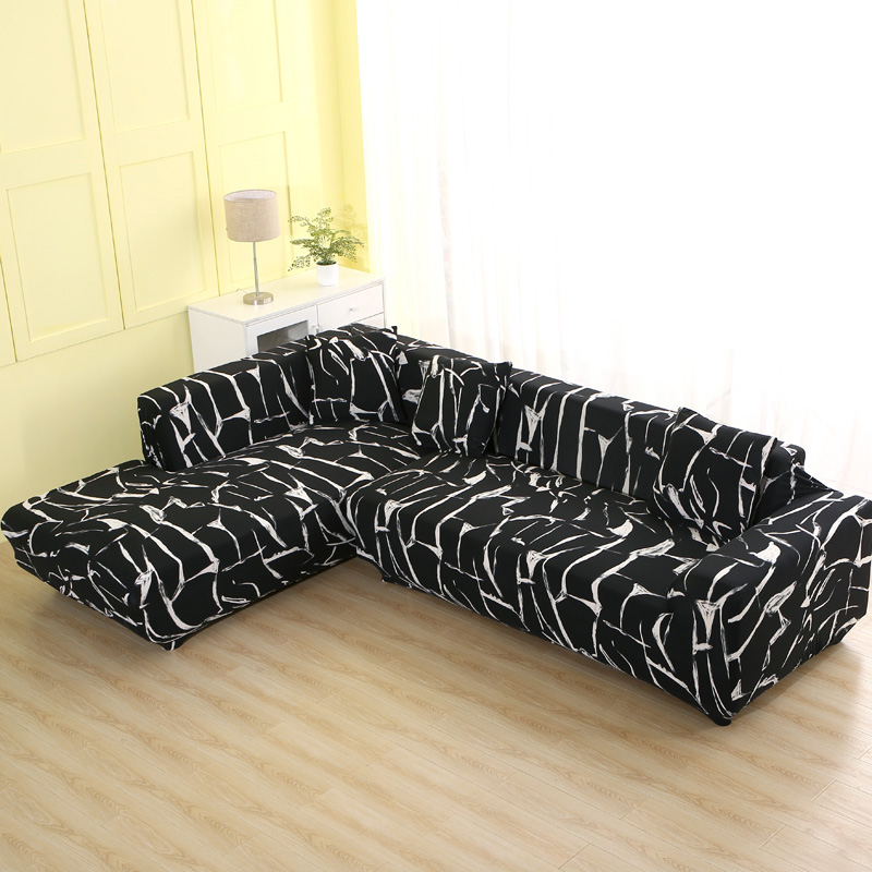 2 Pcs Couch Covers for Corner L Shaped Sofa with Elastic and Straps for Living Room 3