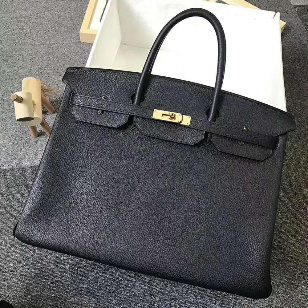 The highest quality ladies luxury fashion handbags quality classic 100% leather brand famous ladies hand made handbags 40cm-in Top-Handle Bags from Luggage & Bags    1