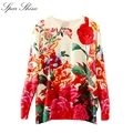Print Casual Knitted sweater women Cotton Jumper Tops Autumn Winter 2016 womens capes and ponchoes