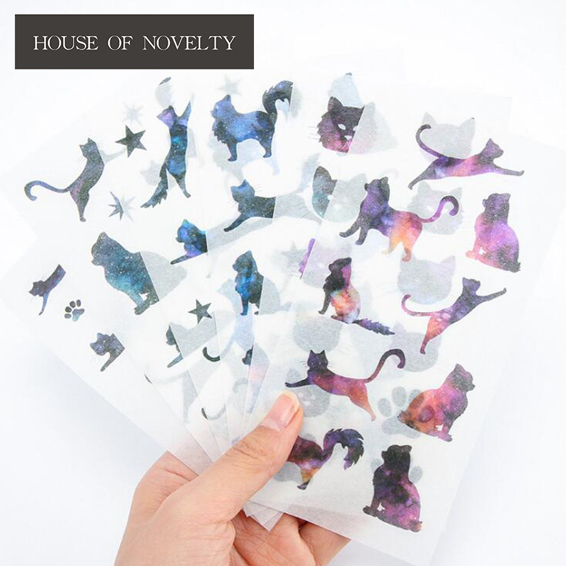 6 pcs/pack Star Cats Label Stickers Set Decorative Stationery Stickers Scrapbooking DIY Diary Album Stick Label spring and fall leaves shape pvc environmental stickers decorative diy scrapbooking keyboard personal diary stationery stickers