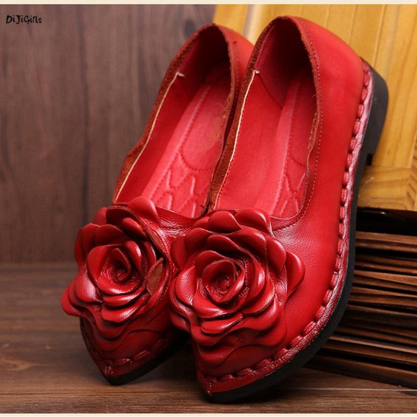 Women Fashion Vintage Flower Genuine Leather Flats Plus Size Slip On Handmade Shoes Woman csg01