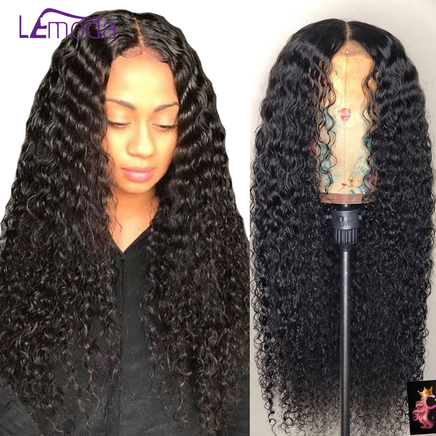 Curly Human Hair Wig Glueless Lace Front Human Hair Wig With Baby Hair Pre Plucked Lemoda Malaysian Remy Hair 150 Density(China)