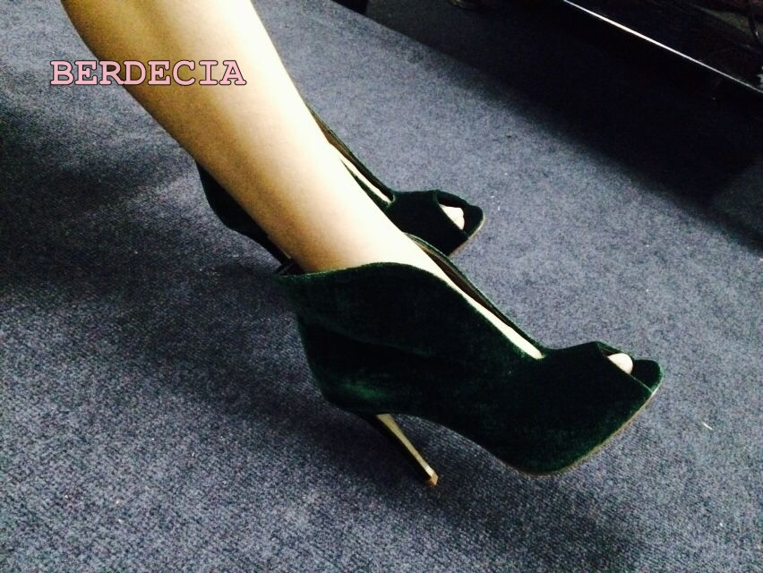 Green mercerized suede shallow cut peep toe pumps fashion party stiletto high heel pumps popular  woman shoes party suede and stiletto heel design peep toe shoes for women