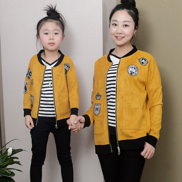 children clothes women kids girls family matching clothes family look outfits mother daughter baseball jacket yellow suede coat