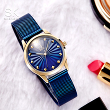 Shengke new Quartz Watch women  Fashion Wristwatches for Ladies Milan Mesh Band Luxury Watches 2019 blue black color