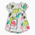 1-6A crianças meninas vestido do bebê vestido de algodão menina dinossauro vestido gola Redonda vestidos de verão para meninas vestido de festa menina dinossauro impressão