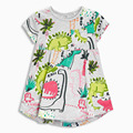 1-6Y cotton children girls dress baby girl dinosaur dress Round collar summer dresses for girls party dress girl dinosaur print
