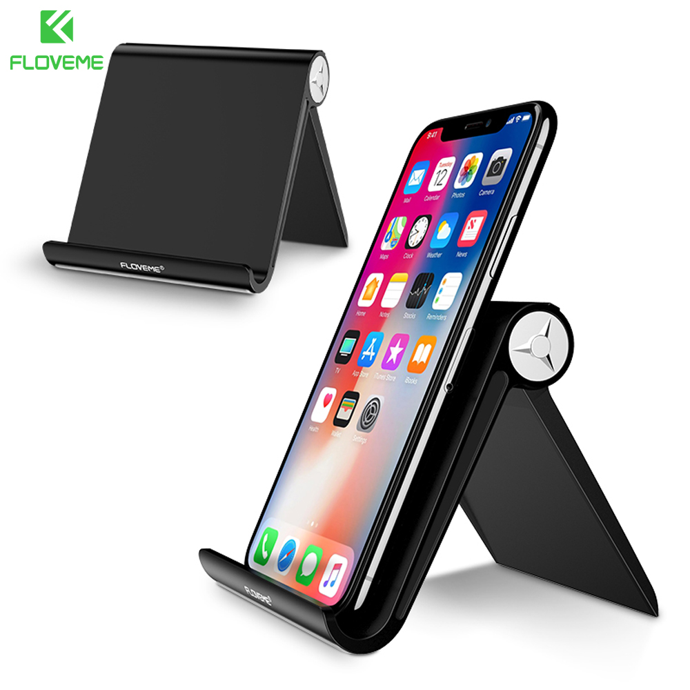 FLOVEME Mini Desk Phone Holder For Samsung S9 S8 Stand Foldable Mobile Phone Holder For iPhone iPad Tablet Universal Mount Stand