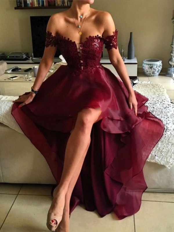Abendkleider2017 Sexy Backless Wine Red Lace High Low Prom Gown V-Neck Cap Sleeve Evening dresses Formal Dress Vestidos de noite