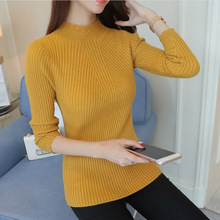 knitted turtleneck long sleeve pullovers