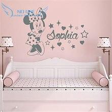 Minnie criativo personalizado crianças nome do bebê adesivos de parede para quartos dos miúdos home decoração adesivos de parede
