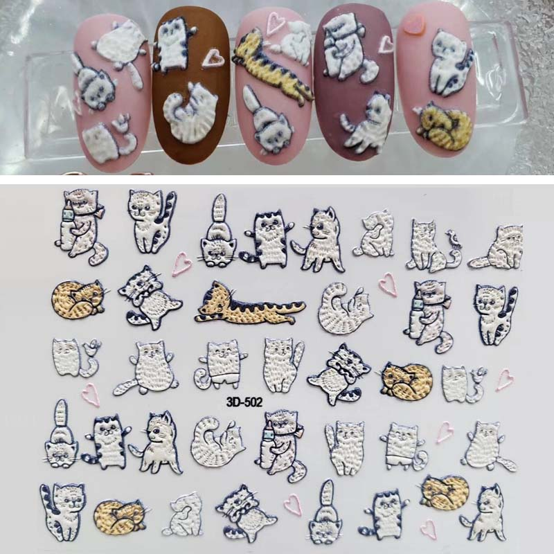 1 sheet Water Transfer Nail Art Sticker And Decal Engraved Designs Cartoon Cat Set Cute Slider Tattoos Manicure in Stickers Decals from Beauty Health