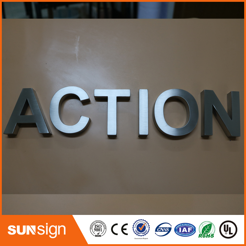 Custom chrome color Brushed stainless steel letters signCustom chrome color Brushed stainless steel letters sign