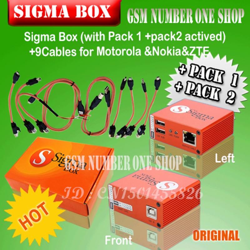 2018 la nouvelle version sigma boîte avec 9 câbles avec Pack 1 + Pack 2 activation
