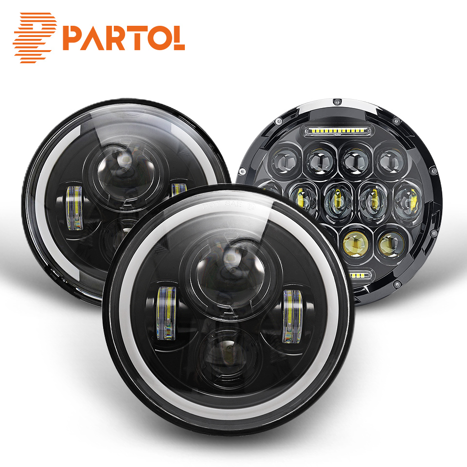 Partol 7inch Round Led Headlight High Low Beam Light Halo Angle Eyes DRL Headlamp 30W For Jeep Wrangler Off Road 4x4 Motorcycle-in Car Light Assembly from Automobiles & Motorcycles on AliExpress - 11.11_Double 11_Singles' Day 1