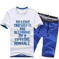 2017 New Arrivals Verão mens treino T-shirt de manga curta e calções sprots terno conjunto dos homens casuais Em Torno do pescoço t camisas