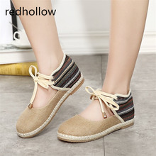 Summer Casual Shoes Vintage Summer Sandals Flat Women Shoes Lace Up Linen Canvas Sandals Bohemia Lady's Ankle Strap Shoes Female стоимость
