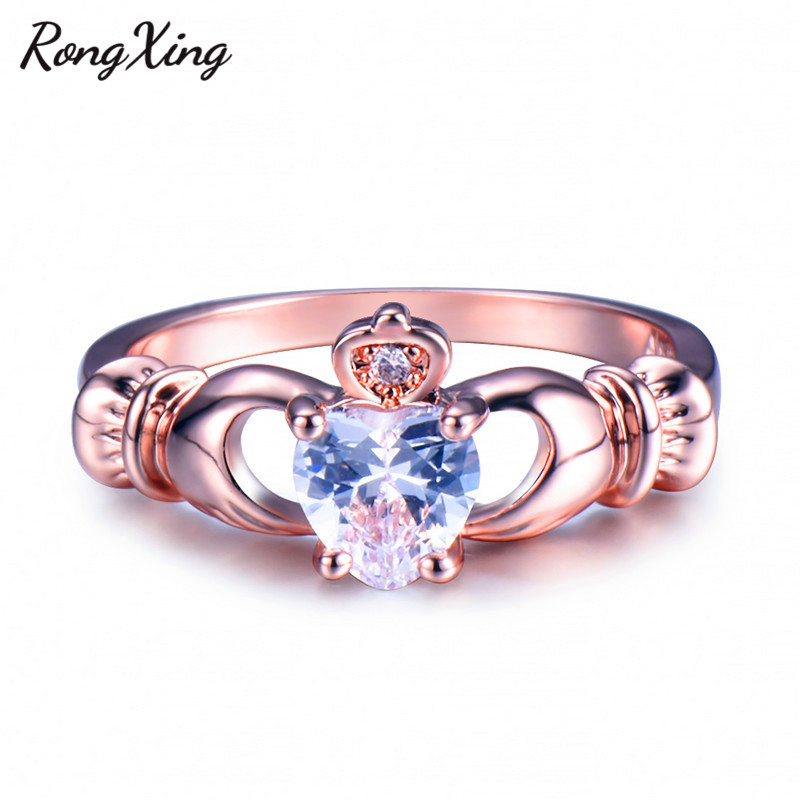 RongXing Luxury Heart Claddagh Ring Rose Gold Filled April Birthstone AAA White Zircon Wedding Fashion Jewelry Lover Gift RR0024