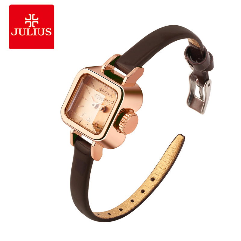 Julius Unique Square Small Dial Small Ladies Watches Women Thin Leather Strap Quartz Watches Rose Gold Female Watch Montre Femme julius 397 heart shaped women quartz watch with diamond round dial genuine leather strap