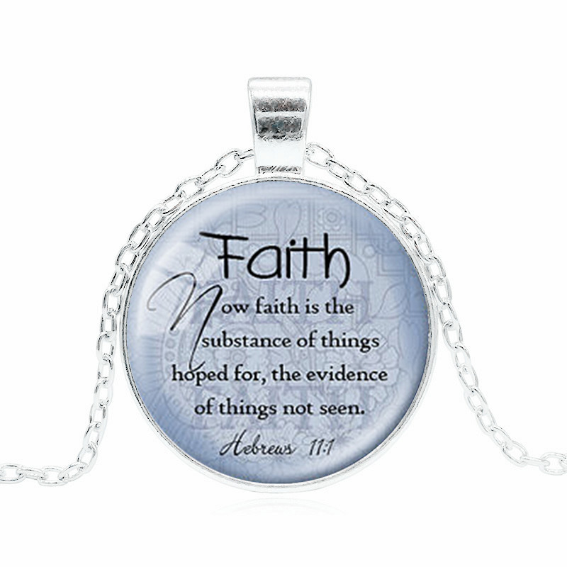 FAITH HEBREWS 11:1 Pendant Bible Quote Jewelry Scripture Pendant Faith Necklace Christian Gift for Christian Bible Verse Jewelry image