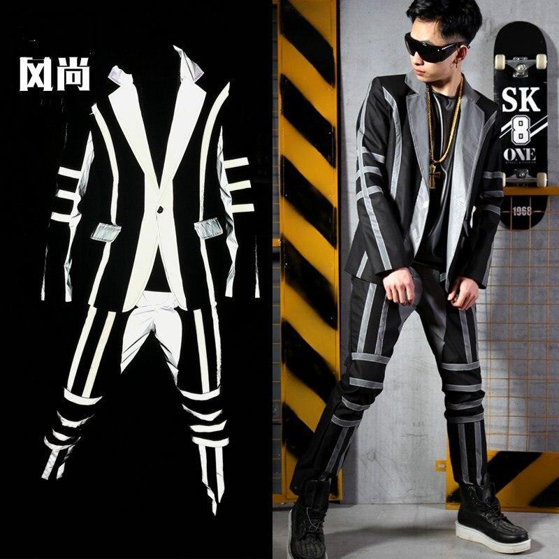 Мужская клуб танцевальные костюмы комплект куртка брюки один костюмы Светоотражающие 2 шт. лоскутное певица H49