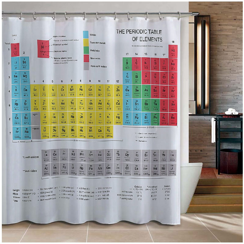 New Periodic Table Of Elements Bathroom Curtains