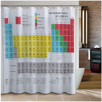New Periodic Table of Elements Bathroom Curtains Waterproof 3D Print Shower Curtain White Fabric Curtain For The Bath 12 Hooks