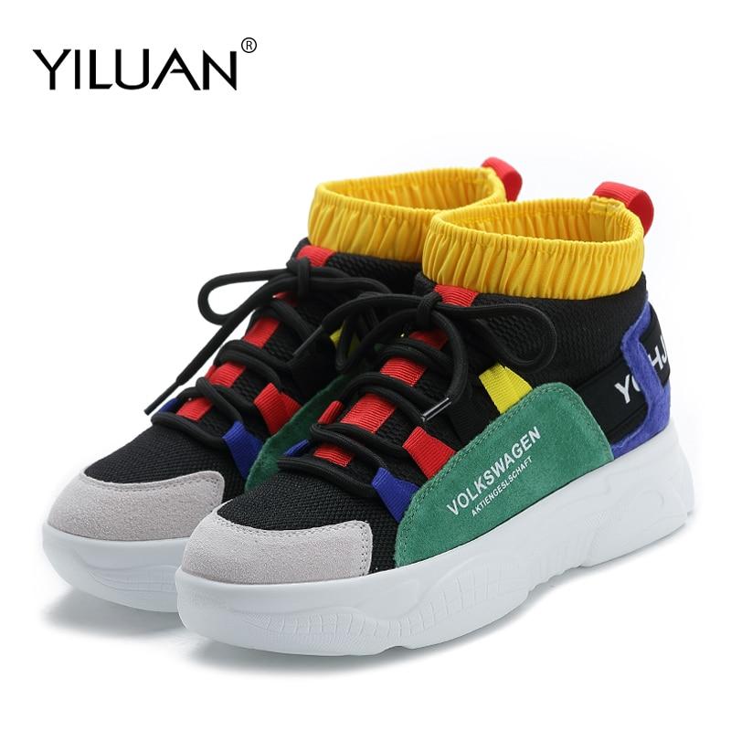 Yiluan plate-forme baskets femmes tricot supérieur respirant chaussures Chunky chaussures haut femmes chaussures décontractées couleurs mélangées