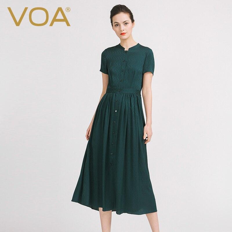 VOA Plus La Taille Chemise De Soie Robes Femmes Paon Vert Balançoire Occasionnel Robe Longue Tunique À Manches Courtes Automne robes sukienki A6910