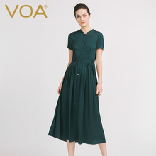 VOA Europe and the United States in the spring and summer of 2016 sets of new green waist head pure silk dress dress shirt цена 2017